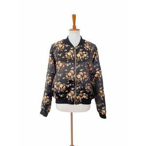 Emory Park Floral Satin Bomber Zip Up Jacket Large